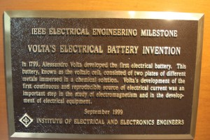 Plaque commemorating Volt's invention of the pile.