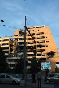 Bombed-out Yugoslav Defense Ministry building in Belgrade