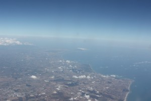 The Italian Amalfi coast, as seen from our flight from Rome to Belgrade