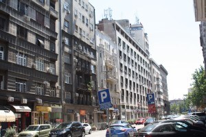 Typical street scene of apartments in Belgrade